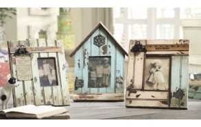 "4x6"" & 5x7"" Wood Photo Frame w/ Metal Embellishments, 11""L x 13""H, 3 Styles"