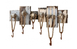 "32-1/2""L x 11""H Wood Wall Plaque w/ 7 Hooks w/ Rope"