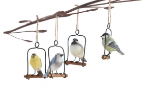 "4-3/4""H Resin Bird Ornament on Metal Perch, 4 Styles"