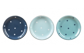 "8"" Round Stoneware Enamel Look Plate w/ Polka Dots, 3 Colors"