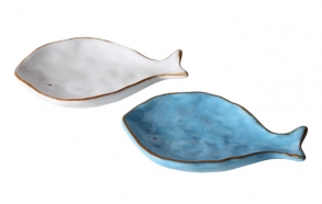 Dolomiidist kalakujuline taldrik, kahes värvivalikus