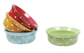 "8""Round Stoneware Dog Bowl w/ Polka Dots, 4 Colors"