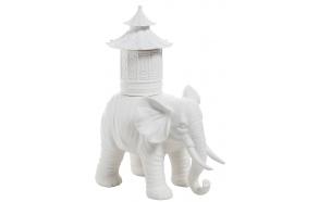 "9.25L x 12.25""H Bisque CeramicElephant w/ Pagoda Container"