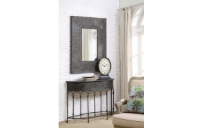"37""L x 48-1/2""H Embossed Metal Framed Mirror, Mirror Size 18-1/2""L x 30""H, Black"