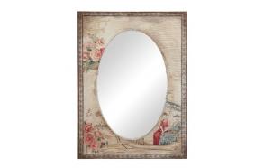 Riidega kaetud puitraamiga peegel, mis on kaunistatud vintage-stiilis pildiga