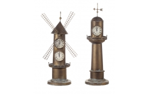 "33.25""H Iron 2-Side LighthouseClock w/ Weathervane Top"