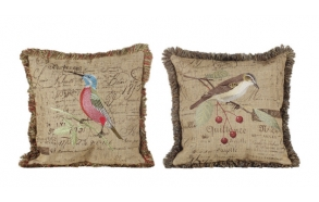 "17-3/4""L  Linen Pillow w/ Embroidery Bird, 2 Styles"