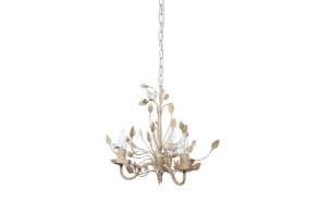 "15-3/4""H Metal Chandelier w/ Glass Birds,Cream,(25Watt Bulb Maximum)"