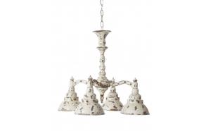 "17-1/2""L x 18-1/2""H MTL -4BulbHanging Lamp, Dist Cream"