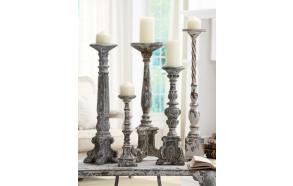 "13-13-3/4""H Resin Pillar Holder, Holds 3"" Pillar Candle, Antique Blue Finish 3/4""H Resin Pilla"