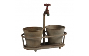"13-3/4""L x 14""H Metal Planters w/ Faucet Holder, Holds 2 - 3"" Plants, Rust"