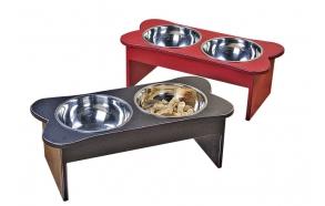 """8""""H x 22""""L Wood Bone Shaped Dog Bowls, 2 Colors"""