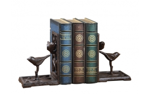 "7""H Cast Iron Bookends w/ Bird, Set of 2"