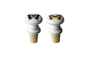 Bottle stopper, white w/yellow & green butterflies