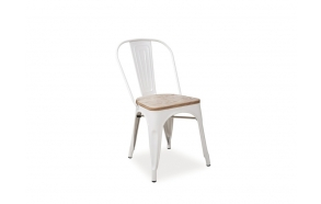 white vintage metal chair, wooden seat