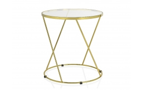 ROUND GLASS/GOLD METAL TABLE