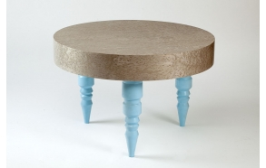 coffee table, round, golden birch+ blue RAL6034