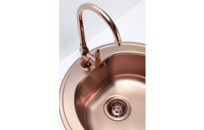 round stainless steel basin FORM 30 MONARCH, diam 51 cm, height 18,5 cm, waste 3 1/2´´, copper finish. Drain is included.