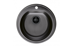 round stainless steel basin FORM 30 MONARCH, diam 51 cm, height 18,5 cm, waste 3 1/2´´, antrachite finish. Drain is included.
