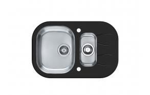 köögivalamu WAVE 30, 76x50 cm, h 17,5 cm, äravool 3 1/2´´, roostevaba satiin+must klaas. Komplektis automaatsifoon.