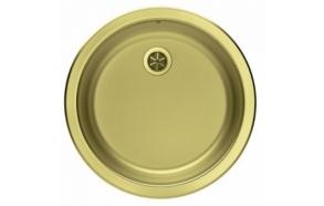 ümar köögivalamu FORM 10, diam  45 cm, äravool 1 1/2´´, roostevaba, kuldne viimistlus. Komplektis põhjaklapp ja sifoon.