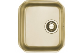 square stainless steel basin VARIANT 90, 35x39.5 cm, height 18,5 cm, waste 3 1/2´´, golden finish. Drain is included.