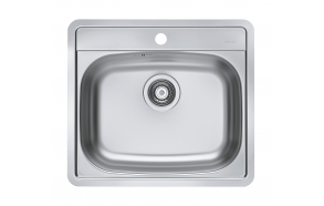 square stainless steel basin MORE 10, 56x50 cm, height 16 cm, waste 3 1/2´´, satin finish. Drain not included.