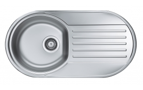 round stainless steel basin with worktop FORM 40, 83.2x43.7 cm, height 15 cm, waste 3 1/2´´, linen texture. Drain not included.