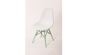chair Alexis V, white/green seat, green feet