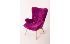 armchair Burg, purple fabric, grey buttons