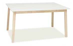 extendable dining table Nordic, white/white oak 140(180)x90 cm