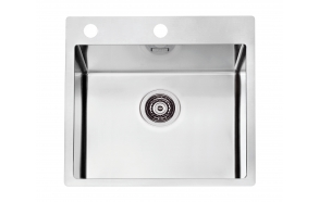 square stainless steel basin PURE 30, 51.5x52.5 cm height 19.5 cm, satin finish. Automatic drain 3 1/2´´included.