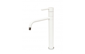 high basin mixer Form A with swivel spout, mat white