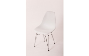 "chair Alexis, white, chromed metal ""Y"" feet"