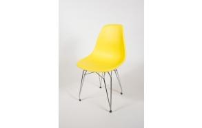 "chair Alexis, yellow, chromed metal ""Y"" feet"