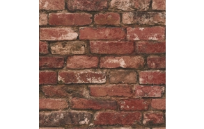 Rustic Brick Sidewall, Red