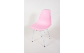 "chair Alexis, pink, white metal ""Y"" feet"