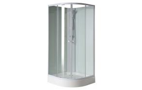 dušikabiin 90x90 cm, klaasist tagaseinad, segistikomplekt - osad 1-4