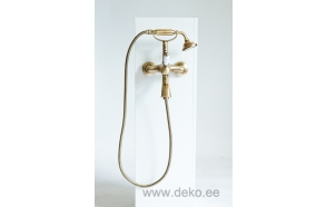 SINGLE LEVER BATH MIXER WITH SHOWER KIT WHITE LEVER NEW OLD BRONZE