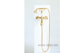 SINGLE LEVER BATH MIXER WITH SHOWER KIT WHITE LEVER NEW OLD GOLD