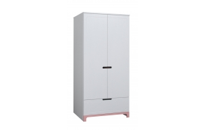 2 uksega riidekapp Mini, valge+roosa