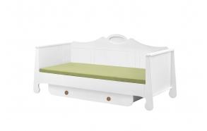 voodi, 200x90, valge+pruun
