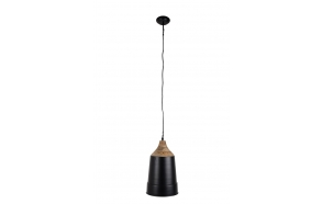 Pendant Lamp Wood Top Black