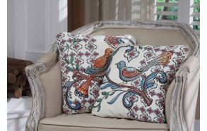 "15-3/4""Square Canvas Pillow w/ Bird Image, 2 Styles ©"