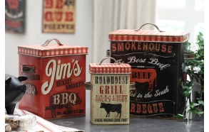"9-1/2""L x 11-1/4""H & 7-1/4""L x 9""H & 5""L x 7""H Tin Canisters w/ BBQ Images, Set of 3 ©"