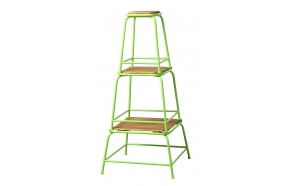 "18"", 13-1/2"" & 10-1/2""H Square Metal & MDF Stacking Stools, Set of 3, Green"