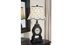 "27-1/2""H Resin Clock Table Lamp w/ Shade, Black"
