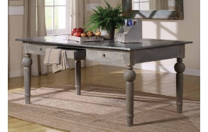 "71""L x 39""W x 30-1/2""H MDF & Fir Table w/ Tin Top, Grey, KD"