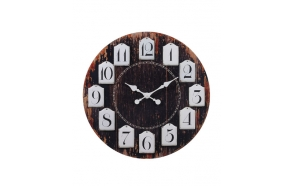 "28-3/4""Round MDF Clock w/ Hanging Metal Numbers"