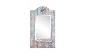 100 cm h puidust peegel , kaunistuste ja nagidega, antiiksinine